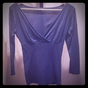 Michael Stars Blue Shimmer one Size Surplice Top